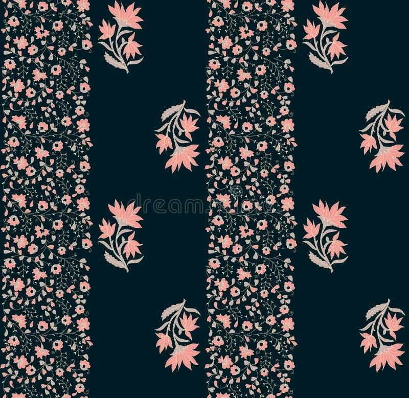 无缝的花卉花有黑暗的背景 库存例证