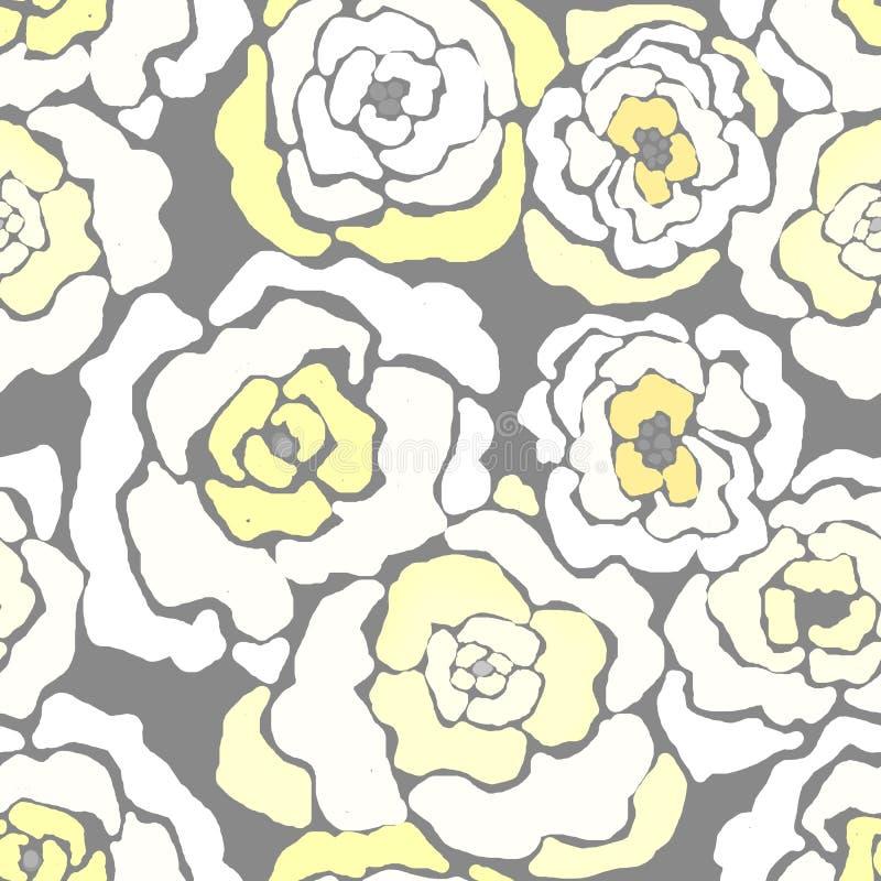 无缝的花卉花黄色灰色现代刷子样式 库存例证