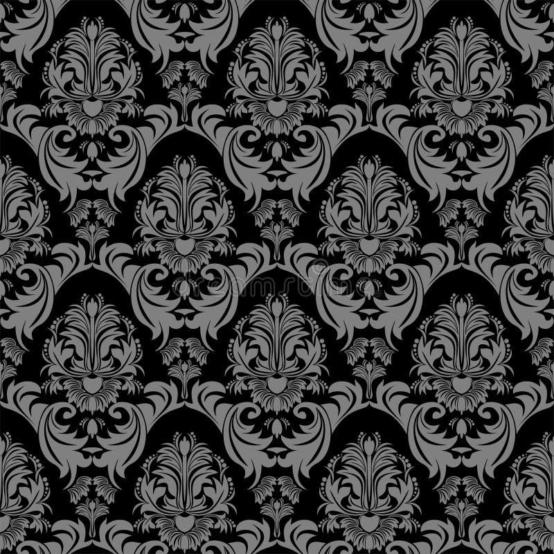 无缝的花卉设计的锦缎华丽墙纸 向量例证
