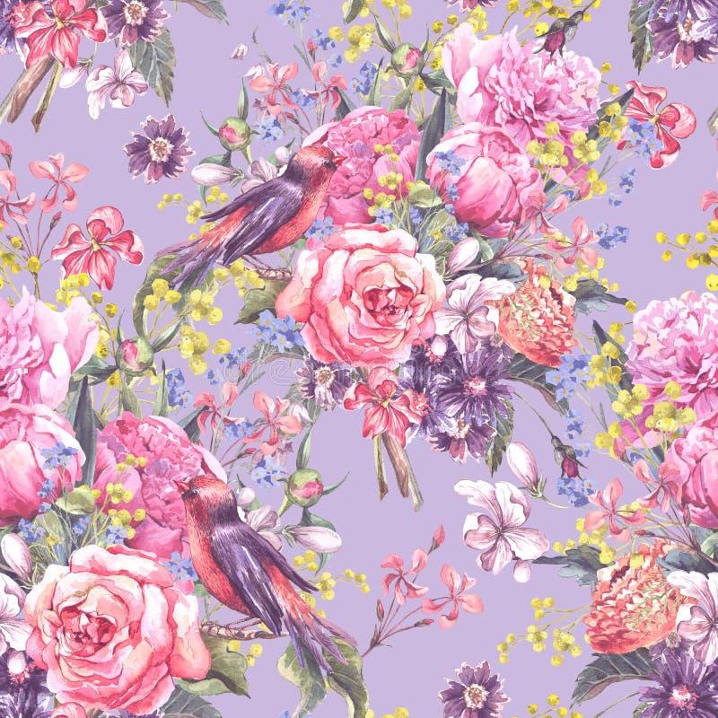 无缝的花卉水彩背景 向量例证