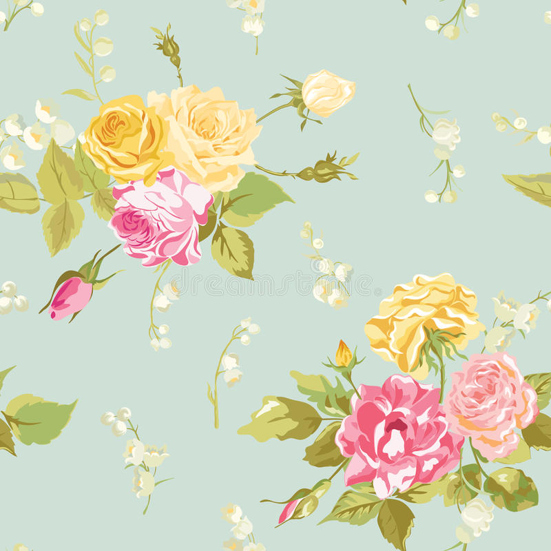 无缝的花卉破旧的别致的背景 向量例证