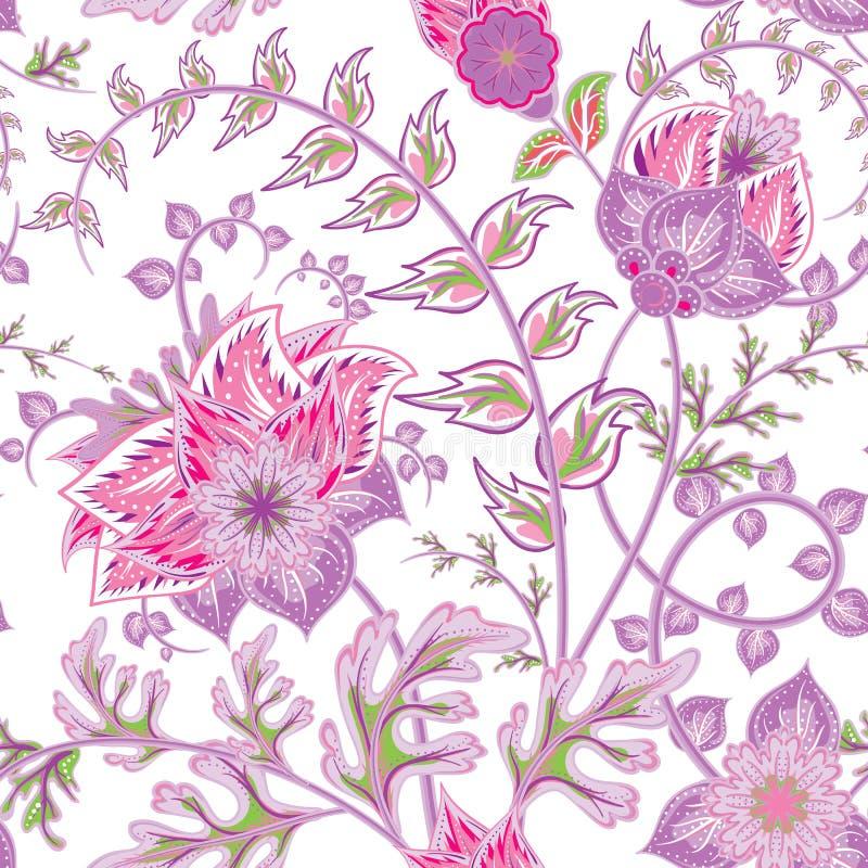 无缝的花纹花样 美丽的明亮的花 浪漫手凹道传染媒介无缝的样式 库存例证