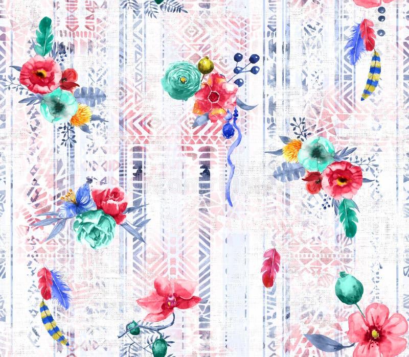 无缝的花设计与羽毛和种族背景纺织品印刷品的 皇族释放例证