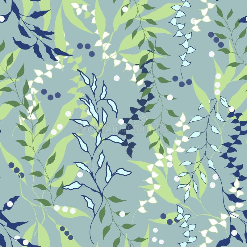 无缝的花饰 叶子的柔和的夏天纹理在绿色背景的 传染媒介织品和瓦片的被绘的装饰品 皇族释放例证