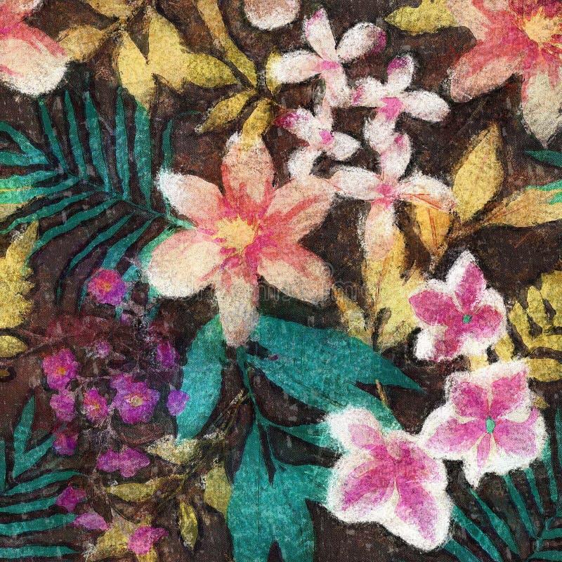无缝的花水彩样式背景 向量例证