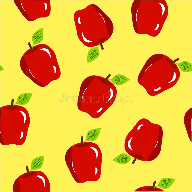 无缝的苹果背景以黄色 图库摄影