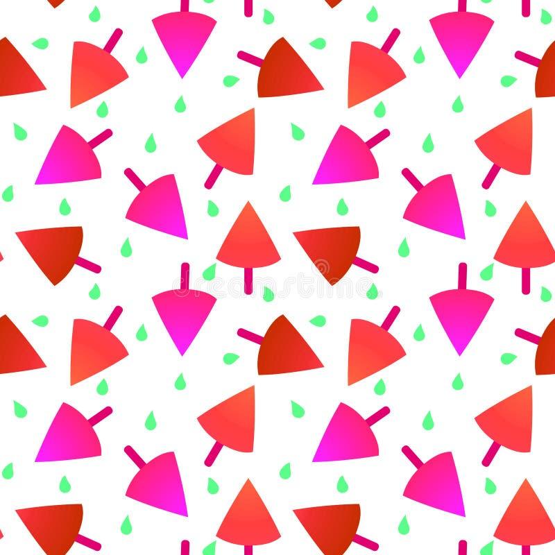 无缝的草莓冰淇凌样式纹理 向量例证
