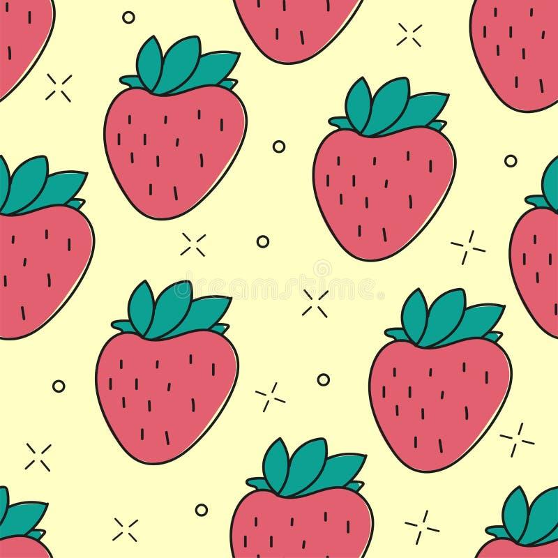 无缝的草莓手拉的传染媒介样式 皇族释放例证