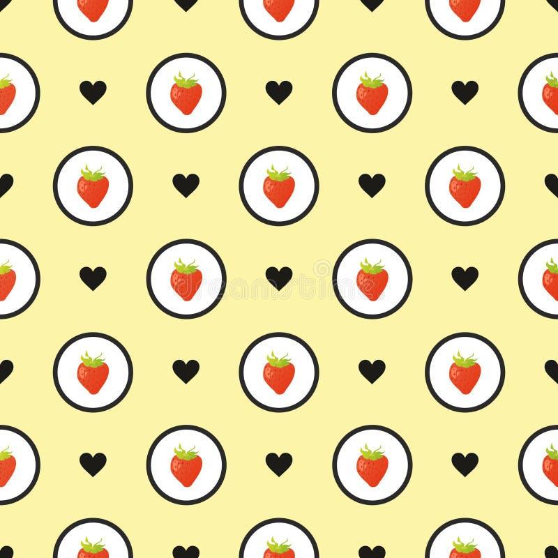 无缝的草莓 库存例证