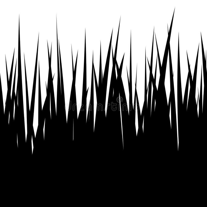 无缝的草,在白色的黑剪影 向量例证