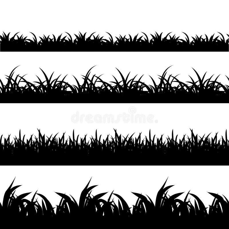 无缝的草黑色剪影传染媒介集合 向量例证