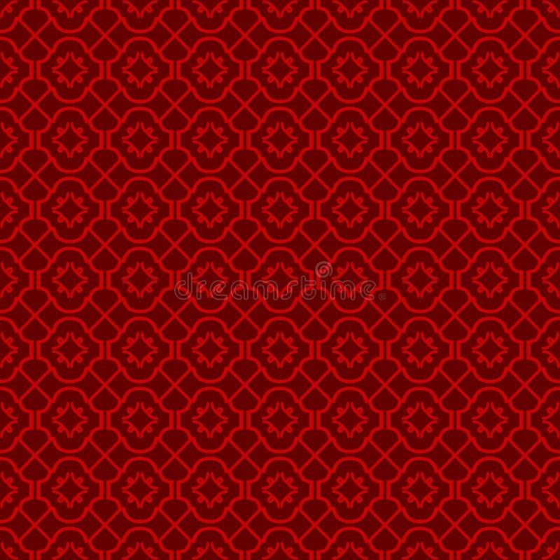 无缝的葡萄酒中国窗口网眼图案十字架线金刚石样式背景 向量例证