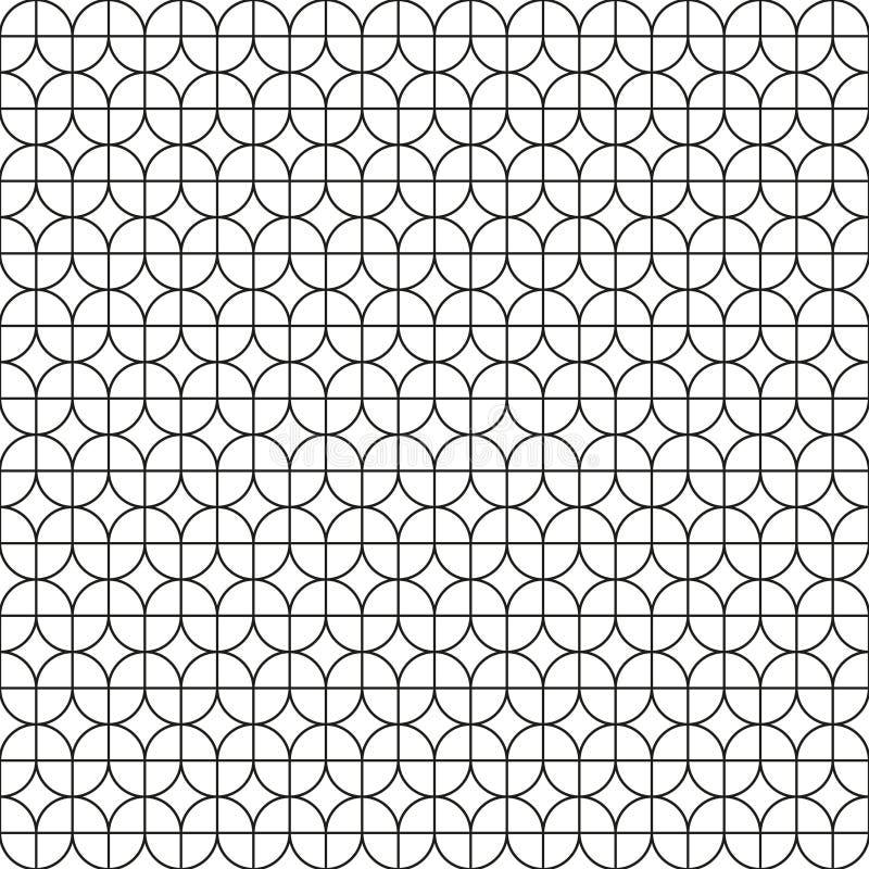 无缝的葡萄酒几何叶子样式网眼图案样式 向量例证