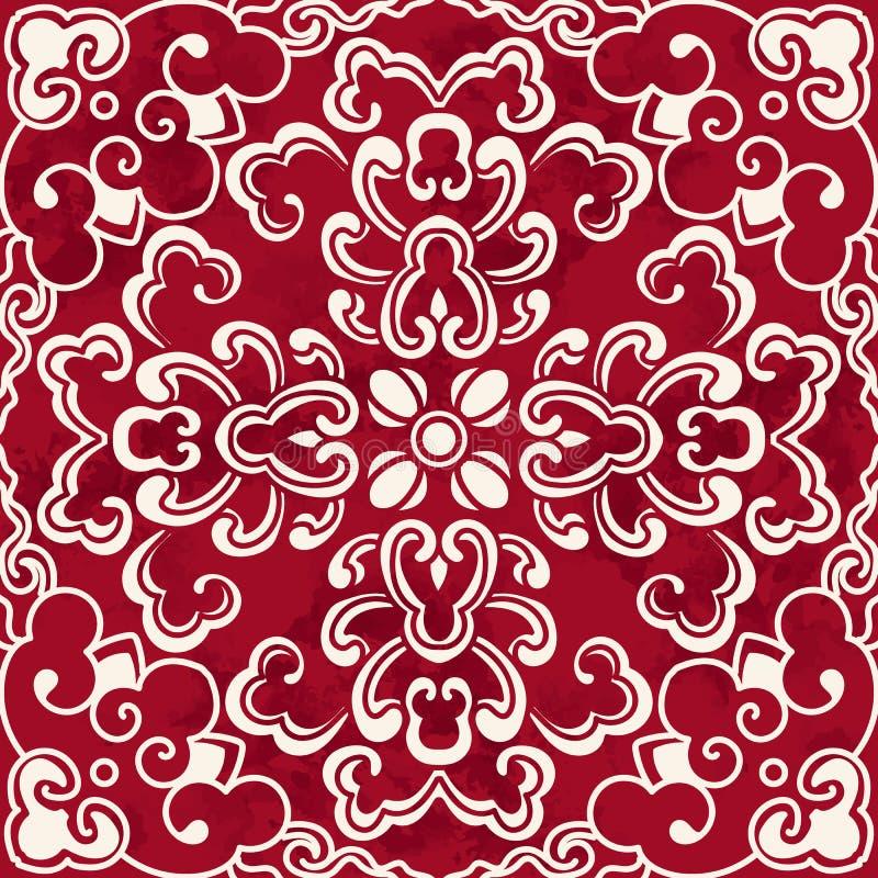 无缝的葡萄酒红色中国背景曲线螺旋圆的十字架 皇族释放例证