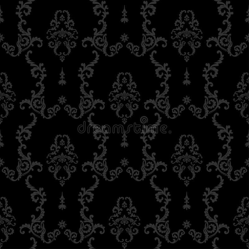 黑无缝的葡萄酒背景 巴洛克式的花卉模式 皇族释放例证