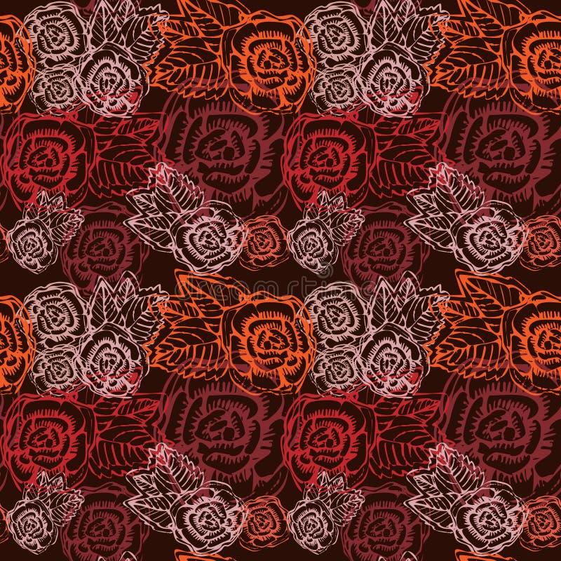 无缝的葡萄酒花玫瑰色模式。 库存照片