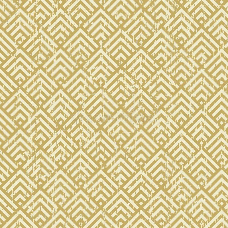无缝的葡萄酒被佩带的黄色方形的检查几何样式背景 库存例证