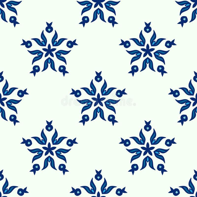 无缝的蓝星冬天样式 皇族释放例证