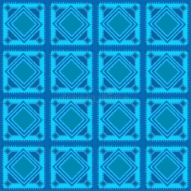 无缝的蓝色几何样式 向量例证