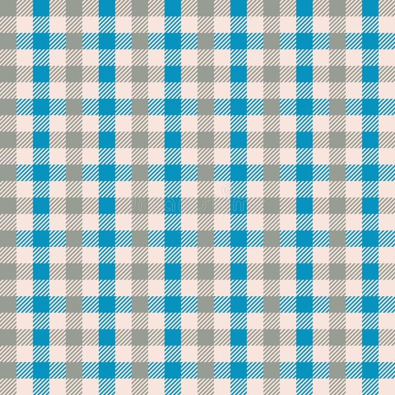 无缝的蓝色和灰褐色方格花布葡萄酒织品纺织品样式 方格花布检查背景 向量例证