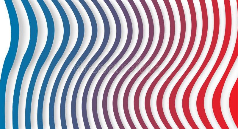 无缝的蓝色和红色梯度扭转的垂直条纹在白色背景中构造 向量例证