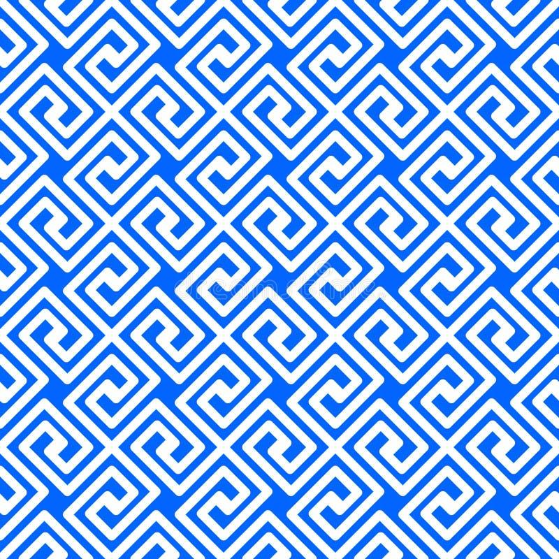 无缝的蓝色希腊样式几何正方形 向量例证