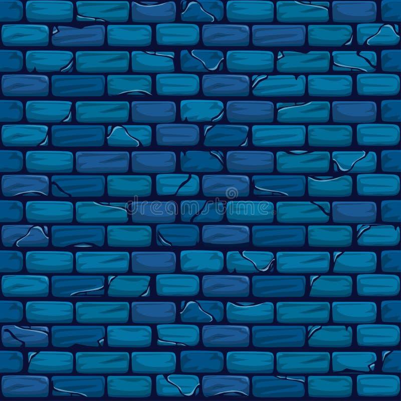 无缝的蓝色砖墙背景纹理样式 库存例证