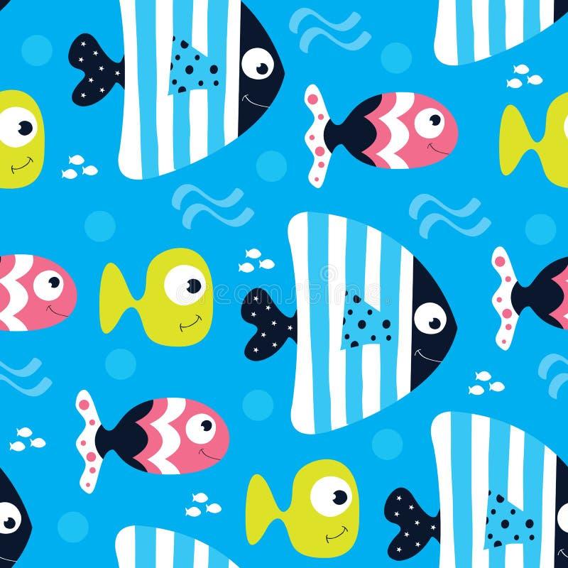 无缝的蓝色鱼样式传染媒介例证 向量例证
