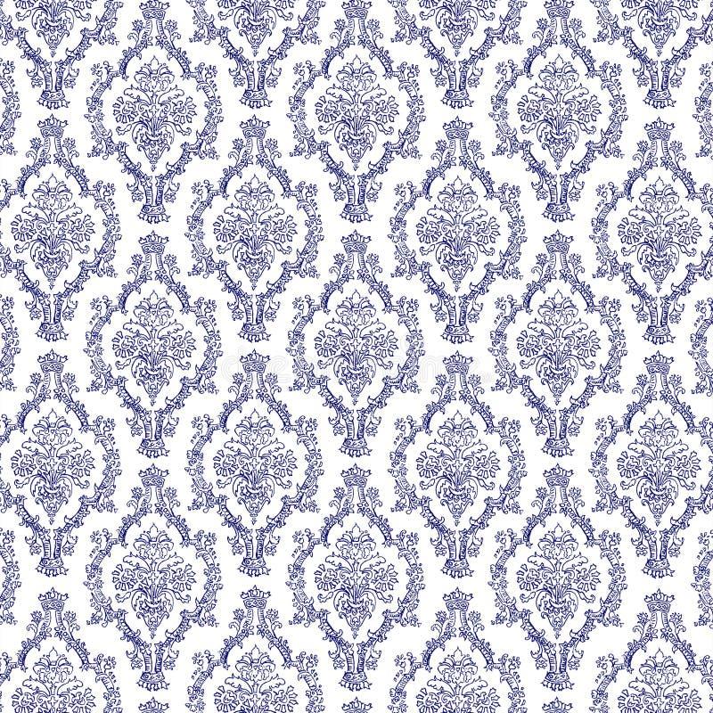 无缝的藏青色&白色锦缎 向量例证