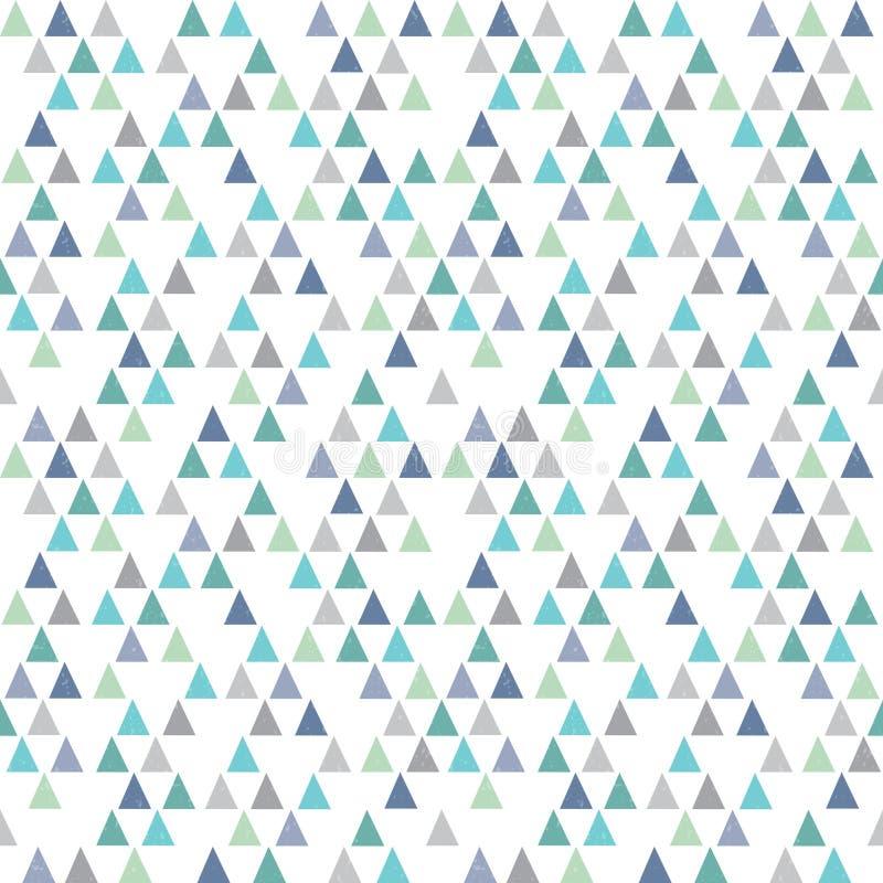 无缝的行家几何样式三角水色蓝色 向量例证