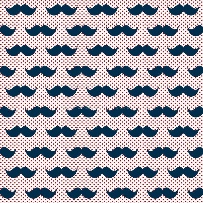 无缝的行家髭圆点样式 库存例证