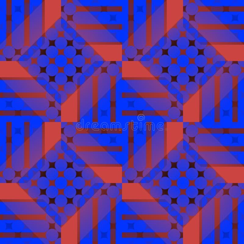 无缝的被检查的样式深蓝红色紫色褐色 向量例证
