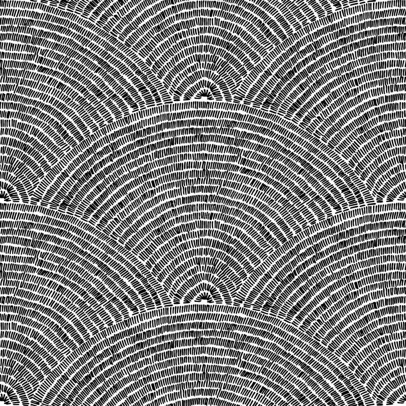 无缝的被绣的黑白样式 波浪装饰品凹道 向量例证