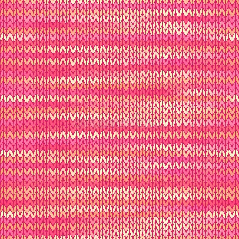 无缝的被编织的混合物样式 桃红色黄色颜色传染媒介例证 向量例证