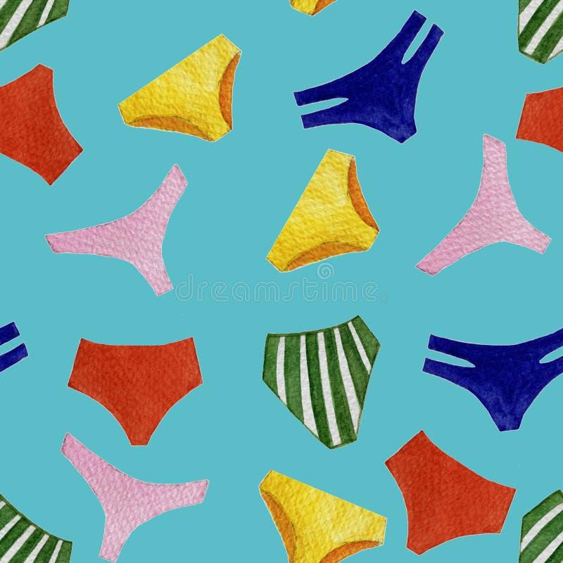 无缝的被隔绝的对象的水彩五颜六色的泳装内裤样式在明亮的蓝色背景的 向量例证