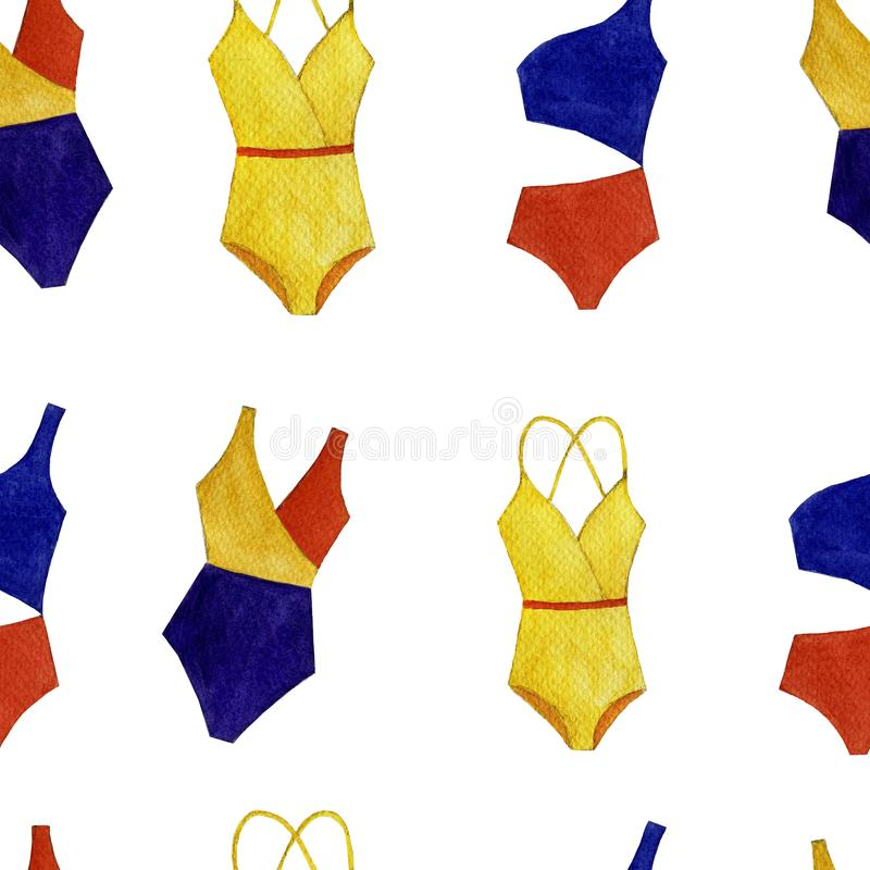 无缝的被隔绝的对象的水彩五颜六色的泳装样式在白色背景的 向量例证
