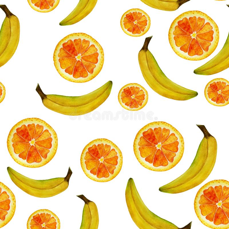 无缝的被隔绝的水彩果子桔子和在白色背景的香蕉样式 库存例证