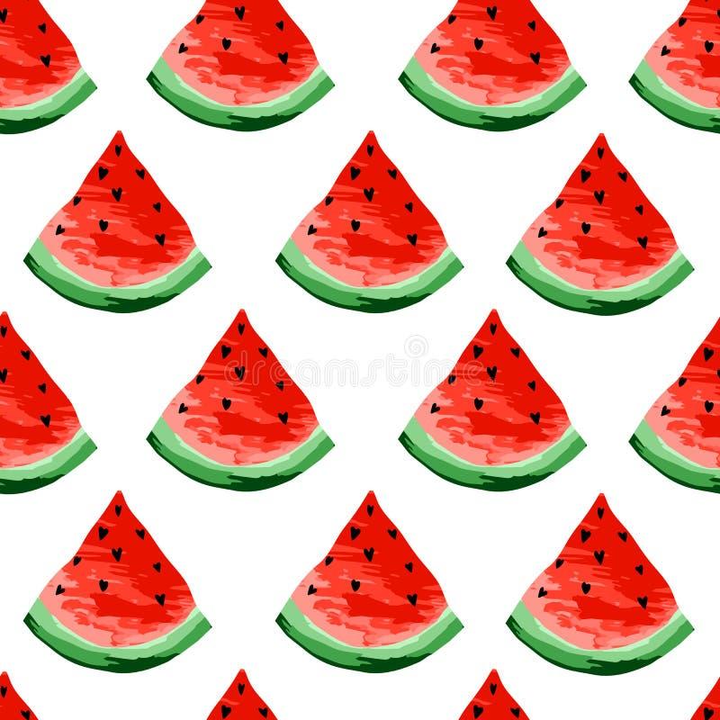 无缝的西瓜样式 切片西瓜,莓果背景 被绘的果子,形象艺术,动画片 库存例证