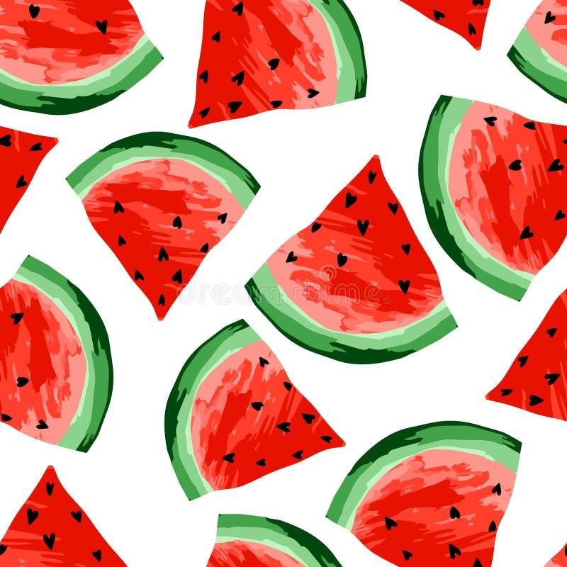 无缝的西瓜样式 切片西瓜,莓果背景 被绘的果子,形象艺术,动画片 向量例证