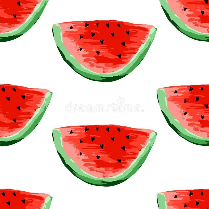 无缝的西瓜样式 切片西瓜,莓果背景 被绘的果子,形象艺术,动画片 皇族释放例证