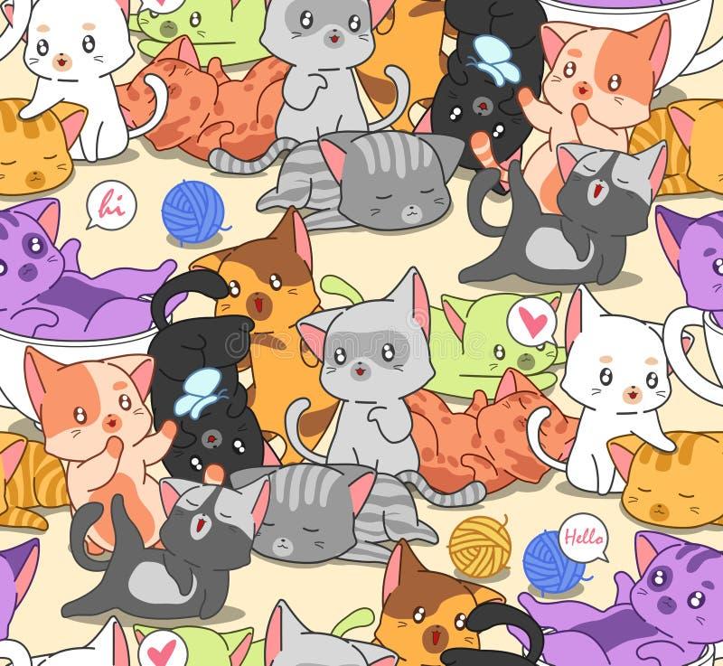 无缝的许多小的逗人喜爱的猫样式 向量例证