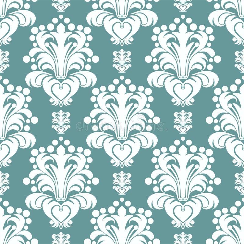 无缝的设计的锦缎花卉墙纸 库存例证