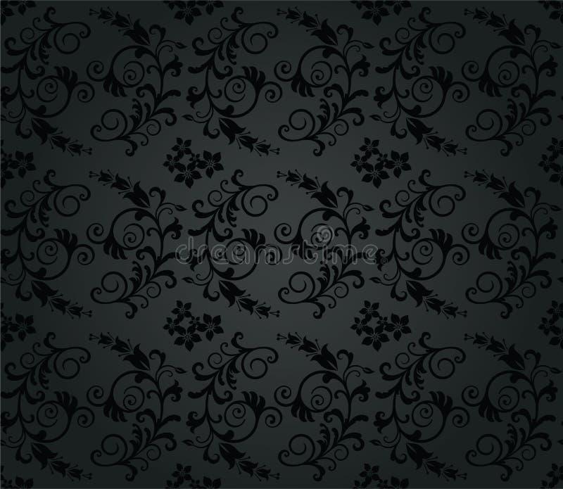 无缝的豪华木炭圆的叶子墙纸 向量例证