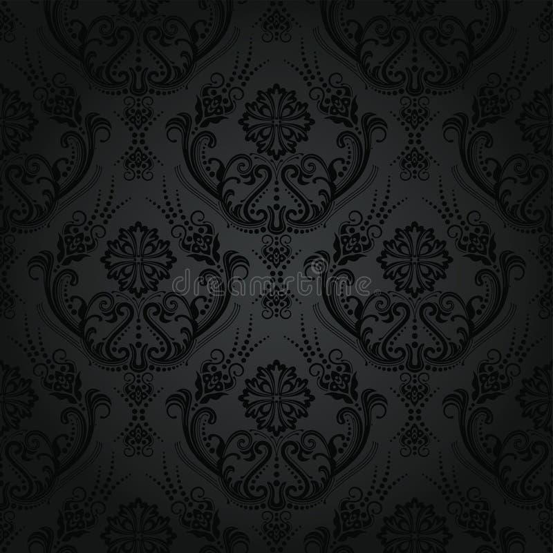 无缝的豪华黑色花卉锦缎墙纸 向量例证