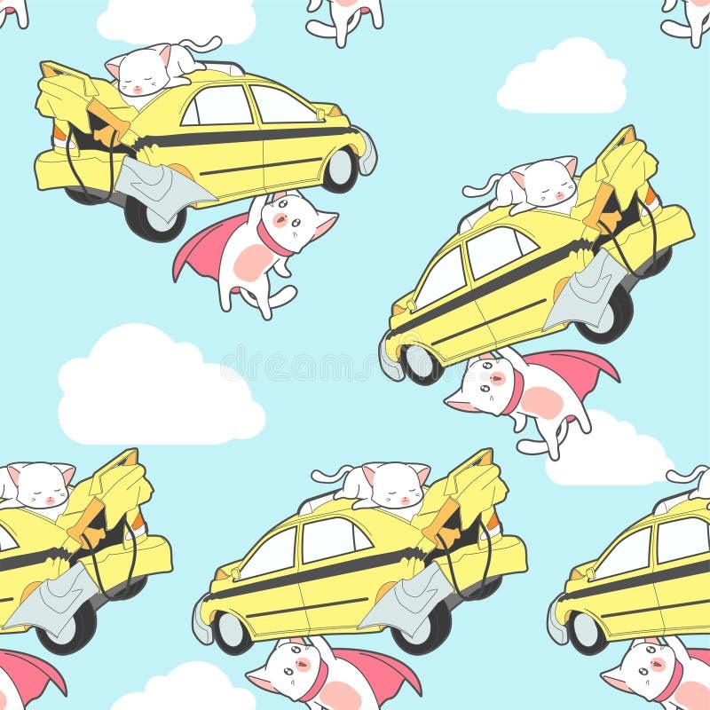 无缝的超级猫举汽车样式 皇族释放例证