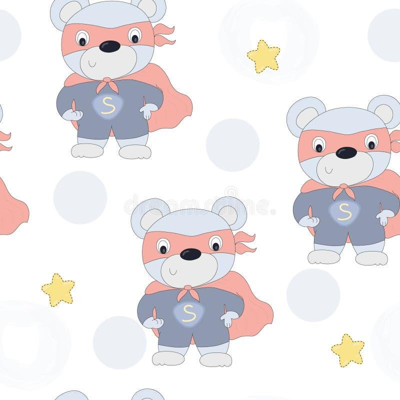 无缝的超级英雄玩具熊传染媒介例证 向量例证