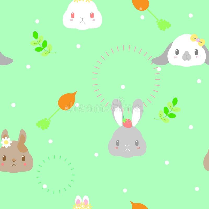 无缝的逗人喜爱的动物与叶子、红萝卜和花的宠物野生生物哺乳动物的小兔重复样式在绿色背景中 向量例证