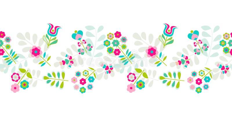 无缝的逗人喜爱的小花边界样式 向量例证