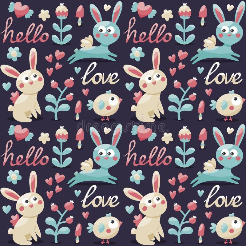 无缝的逗人喜爱的样式做用兔子,野兔,花,动物,植物,心脏,爱,你好,莓果,情人节 库存例证