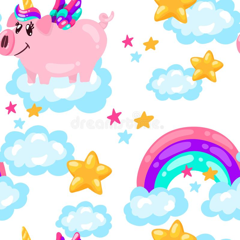无缝的逗人喜爱的猪独角兽样式 婴孩印刷品 动画片手拉的caracter 皇族释放例证